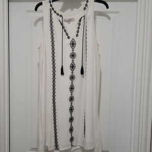 Loft white embroidered dress